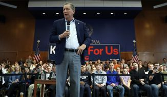 Republican presidential candidate Ohio Gov. John Kasich speaks during a town hall event at Villanova University, Wednesday, March 16, 2016, in Villanova, Pa. (AP Photo/Matt Slocum)