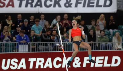 FILE - This March 12, 2016 file photo shows Sandi Morris exulting as she clears the winning height in the women's pole vault at the U.S. indoor track and field championships in Portland, Ore. Surpassing the 16-foot mark has the American pole vaulter readjusting her goals. The next step in her progression? A world championship and even the world record. She'll get a shot at her new target on Thursday, March 17, 2016 when the IAAF world indoor track and field championships open in Portland, Oregon, with the pole vault competition. (Andy Nelson/The Register-Guard via AP, file)