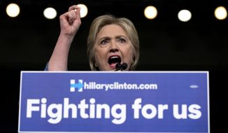 """""""Now I think it's time to turn our attention to comprehensive immigration reform,"""" Hillary Clinton said, using the term immigrant-rights advocates use for legislation to legalize the 11 million illegal immigrants now in the country. (Associated Press)"""