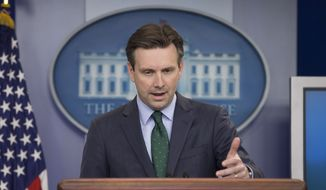 White House Press secretary Josh Earnest speaks to the media during the daily briefing in the Brady Press Briefing Room of the White House. (AP Photo/Pablo Martinez Monsivais)