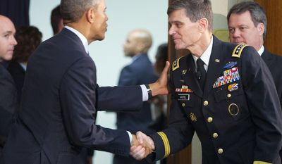 In this March 14, 2016, photo, President Barack Obama, left, stops to greet Gen. Joseph L. Votel, right, his pick to be the next tU.S. commander for the Middle East, after speaking at the Chief of Missions Conference at the State Department in Washington. Republican senators on March 17  unveiled legislation that requires the Obama administration to impose stricter sanctions on every sector of Iran's economy that supports the country's ballistic missile program. Both Defense Secretary Ash Carter and Votel have told the Senate Armed Services Committee in the last week that harder hitting sanctions are necessary.(AP Photo/Pablo Martinez Monsivais)