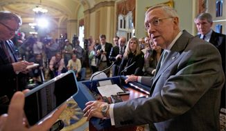 "Senate Minority Leader Harry Reid predicted that Senate Majority Leader Mitch McConnell will eventually cave when pressure grows too high on his fellow Republicans. Mr. Reid told NBC's ""Meet the Press"" on Sunday that Mr. McConnell is ""marching [his fellow Republicans] over a cliff, and I don't think they're going to go."" (Associated Press)"