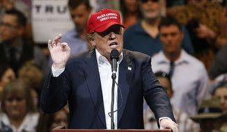 Republican presidential candidate Donald Trump speaks during a campaign rally Saturday in Tucson, Arizona. (Associated Press)