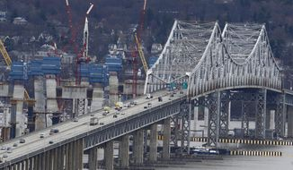 Construction continues on the Tappan Zee Bridge as seen from Nyack, N.Y. in this March 15, 2016 file photo. (AP Photo/Julio Cortez) **FILE**