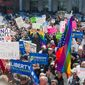 Masses of people turned out last year to oppose the Religious Freedom Restoration Act, a law at the heart of the Supreme Court case this week challenging the Affordable Care Act's contraceptive mandate. (Associated Press)