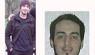 In this undated combination photo provided by the Belgian Federal Police in Brussels on Monday, March 21, 2016, suspect Najim Laachraoui is shown. Belgian prosecutors appealed to the public Monday for information about Laachraoui who allegedly traveled to Hungary in 2015 with the top suspect in the Paris attacks. (Belgian Federal Police via AP)