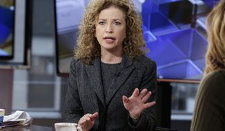 "Democratic National Committee Chair,  Rep Debbie Wasserman Schultz, D-Fla., is interviewed by Maria Bartiromo during her ""Mornings with Maria"" program, on the Fox Business Network, Monday, March 21, 2016, in New York. (AP Photo/Richard Drew)"
