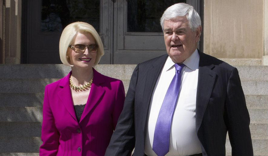 Former House Speaker Newt Gingrich and his wife Callista leaves a closed-door meeting with Republican presidential candidate Donald Trump in Washington, Monday, March 21, 2016. (AP Photo/Jose Luis Magana) ** FILE **