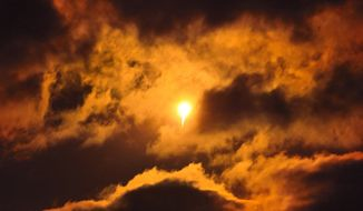 A United Launch Alliance Atlas V rocket carrying an Orbital ATK Cygnus spacecraft lights up the night sky during liftoff from Launch Complex 41 at the Cape Canaveral Air Force Station in Florida, Tuesday, March 22, 2016. Fresh supplies shipped out late Tuesday for the International Space Station, where the shelves finally are getting full after a string of failed deliveries. (Craig Rubadoux/Florida Today via AP)
