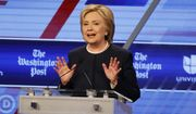 In this photo taken March 9, 2016, Democratic presidential candidate, Hillary Clinton speaks during the Democratic presidential debate in Miami, Fla. (AP Photo/Wilfredo Lee)