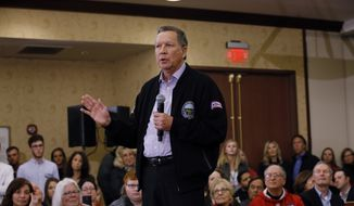 Republican presidential candidate Ohio Gov. John Kasich speaks at a campaign event Wednesday, March 23, 2016, in Wauwatosa, Wis. (AP Photo/Morry Gash)