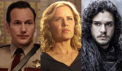 "From left; Patrick Wilson as Lou Solverson in ""Fargo: Tear Two,"" Kim Dickens as Madison Clark in ""Fear the Walking Dead: The Complete First Season Special Edition"" and Kit Harington as Jon Snow in ""Game of Thrones: The Complete Fifth Season."""