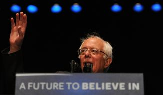 Democratic presidential candidate, Sen. Bernie Sanders, I- Vt., speaks at a rally, Wednesday, March 23, 2016, in Los Angeles. (AP Photo/Michael Owen Baker)