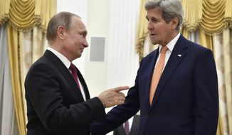 U.S. Secretary of State John Kerry, right, and Russian President Vladimir Putin speak to each other at the Kremlin in Moscow, Russia, Thursday, March 24, 2016. Kerry on Thursday voiced hope that Washington and Moscow could narrow their differences on Syria and Ukraine as he sat down for talks with Russian President Vladimir Putin. (Alexander Nemenov/Pool Photo via AP)