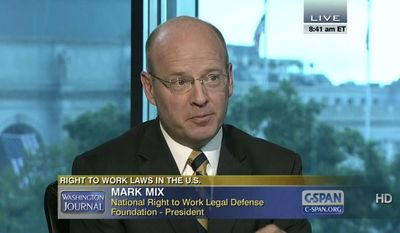 Mark A. Mix, president of the National Right to Work Legal Defense Foundation and National Right to Work Committee, talked about the issue of compelled union membership on Sept. 2, 2013 on Washington Journal. (Image courtesy of C-SPAN.org)