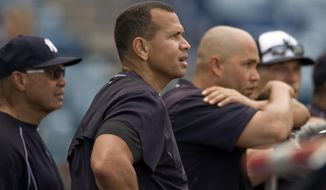 New York Yankees designated hitter Alex Rodriguez, second left, watches batting practice with Reggie Jackson, left, Carlos Beltran, second right, and manager Joe Girardi before a spring training baseball game with the Tampa Bay Rays, Thursday, March 24, 2016, in Tampa, Fla. (AP Photo/Steve Nesius)