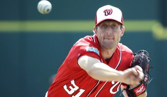 Washington Nationals starting pitcher Max Scherzer throws before a spring training baseball game against the New York Mets, Thursday, March 3, 2016, in Viera, Fla. (AP Photo/John Raoux)