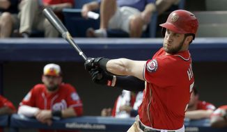 Washington Nationals' Bryce Harper bats against the New York Mets in a spring training baseball game, Thursday, March 3, 2016, in Viera, Fla. (AP Photo/John Raoux)