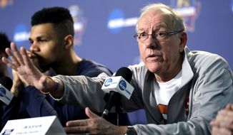 Syracuse head coach Jim Boeheim answers a question at a news conference on Saturday, March 26, 2016, in Chicago. Syracuse plays against Virginia in a regional final game in the men's NCAA Tournament on Sunday. (AP Photo/Nam Y. Huh)