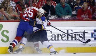 Washington Capitals left wing Jason Chimera (25) and St. Louis Blues defenseman Robert Bortuzzo (41) become entangled while going for the puck in the first period of an NHL hockey game, Saturday, March 26, 2016, in Washington. (AP Photo/Alex Brandon)