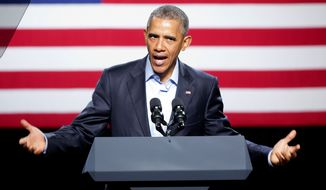 The administration began accepting DACA applications in August 2012, in the middle of President Obama's re-election bid. In 2014, after his party was crushed in midterm congressional elections, Mr. Obama tried to expand the amnesty to three years and making as many as 5 million illegal immigrant parents eligible. (Associated Press)