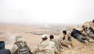 In this photo released by the Syrian official news agency SANA, Syrian soldiers take up positions during fighting between Government forces and Islamic State group militants in Palmyra, Syria, Sunday, March 27, 2016. Syrian state media and an opposition monitoring group say government forces backed by Russian airstrikes have driven Islamic State fighters from the historic central town of Palmyra, held by the extremists since May. (SANA via AP)