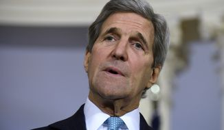 """FIL - In this March 9, 2016, file photo, Secretary of State John Kerry speaks to reporters at the State Department in Washington. The State Department and Pentagon ordered the families of U.S. diplomats and military personnel Tuesday to leave posts in southern Turkey due to """"increased threats from terrorist groups"""" in the country.   (AP Photo/Susan Walsh, File)"""