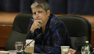 FILE - In this Nov. 19, 2014 file photo, University of California President Janet Napolitano listens to student speakers during a meeting of the university Board of Regents in San Francisco. California's auditor said Tuesday, March 29, 2016, the University of California has undermined residents by admitting a growing number of nonresident students, some of whom were not as qualified as in-state students. (AP Photo/Eric Risberg, File)
