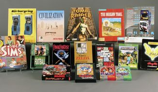 """This undated photo released by the The Strong museum shows the 15 finalists of the World Video Game Hall of Fame. The 15 finalists, including """"Sonic the Hedgehog,"""" """"Space Invaders"""" and """"John Madden Football"""" for the 2016 class were revealed Tuesday, March 29, 2016. The winners will be inducted May 5 at The Strong museum in Rochester, N.Y. (Bethany Mosher/Video Game Hall of Fame via AP)"""