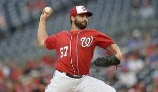 Washington Nationals starting pitcher Tanner Roark delivers a pitch against the Minnesota Twins during the first inning of an interleague exhibition baseball game, Friday, April 1, 2016, in College Park, Md. (AP Photo/Nick Wass)
