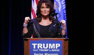 Former Gov. Sarah Palin speaks at a rally for Republican presidential candidate Donald Trump during a campaign event, Saturday, April 2, 2016, in Racine, Wisc. (AP Photo/Paul Sancya)