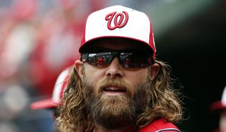 Washington Nationals left fielder Jayson Werth is without a hit in his first 11 at-bats of the season. (AP Photo/Alex Brandon)