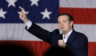 Republican presidential candidate, Sen. Ted Cruz, R-Texas, points as he speaks at a campaign stop at Waukesha County Exposition Center, Monday, April 4, 2016, in Waukesha, Wis. (AP Photo/Nam Y. Huh)