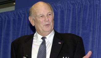 Georgia State basketball coach Lefty Driesell speaks during a news conference to announce his retirement Friday, Jan. 3, 2003 in Atlanta. Driesell's career record is 786-394 with a .666 winning percentage. (AP Photo/John Bazemore)