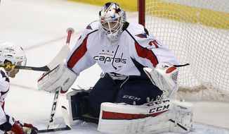 Washington Capitals goalie Braden Holtby (70) plays during an NHL hockey game against the Pittsburgh Penguins in Pittsburgh, Sunday, March 20, 2016. (AP Photo/Gene J. Puskar)