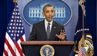 President Barack Obama speaks about new rules aimed at deterring tax inversions, Tuesday, April 5, 2016, in the briefing room of the White House in Washington. (AP Photo/Jacquelyn Martin)