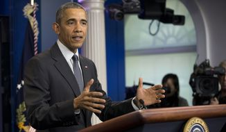 """""""I am getting questions constantly from foreign leaders about some of the wackier suggestions that are being made,"""" President Obama said, taking a sharp detour into the campaign to succeed him. (Associated Press)"""