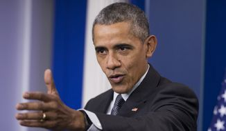 President Barack Obama speaks about the new rules aimed at deterring tax inversions, Tuesday, April 5, 2016, in the Brady Press Briefing Room at the White House in Washington. (AP Photo/Manuel Balce Ceneta) ** FILE **