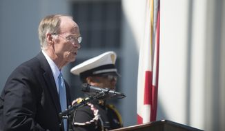Gov. Robert Bentley speaks during Alabama Community College Day on the Alabama Capitol lawn on Tuesday, April 5, 2016, in Montgomery, Ala. (Albert Cesare/Montgomery Advertiser via AP)