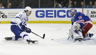 New York Rangers goalie Henrik Lundqvist (30) watches as Tampa Bay Lightning's Brian Boyle (11) approaches during the first period of an NHL hockey game Tuesday, April 5, 2016, in New York. (AP Photo/Frank Franklin II)