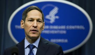 Centers for Disease Control and Prevention Director Dr. Thomas Frieden speaks during a news conference at a Zika summit in Atlanta in this April 1, 2016, file photo. (AP Photo/David Goldman, File)