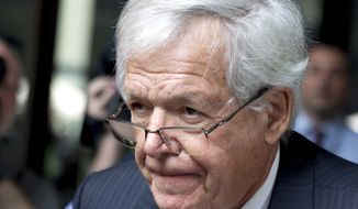 FILE - In this June 9, 2015 file photo, former U.S. House Speaker Dennis Hastert departs the federal courthouse in Chicago. Hastert pleaded guilty in October of 2015 to violating bank laws as he sought to pay $3.5 million in hush money. Hastert's lawyers want a judge to spare Hastert from prison time in the case and give him probation. A filing Wednesday, April 6, 2016 comes before the 74-year-old Republican's sentencing by a federal judge April 27. (AP Photo/Christian K. Lee, File)