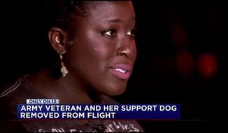 Spirit Airlines kicked Janae Fowler, a U.S. Army veteran, off a Houston-bound flight Saturday after fellow passengers complained about her emotional support dog. (KTRK)