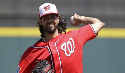 FILE - In this March 15, 2016, file photo, Washington Nationals starting pitcher Gio Gonzalez throws during a spring training baseball game against the Houston Astros in Kissimmee, Fla. (AP Photo/John Raoux, File)