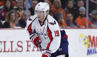 Washington Capitals' Nicklas Backstrom in action during an NHL hockey game against the Philadelphia Flyers, Wednesday, March 30, 2016, in Philadelphia. (AP Photo/Matt Slocum)