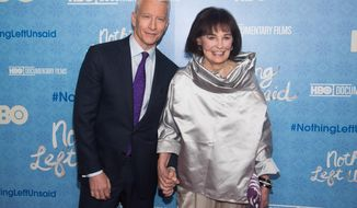 "Anderson Cooper and his mother Gloria Vanderbilt attend the premiere of ""Nothing Left Unsaid"" at the Time Warner Center on Monday, April 4, 2016, in New York. (Photo by Charles Sykes/Invision/AP)"