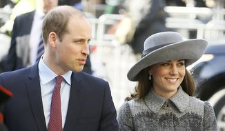 In this March 14, 2016, file photo, Britain's Prince William, left, and Kate, the Duchess of Cambridge, arrive to attend the Commonwealth Day service at Westminster Abbey in London. When the Duke and Duchess of Cambridge arrive in India on Sunday, April 10, 2016, on what's being called their most ambitious tour to date, they'll encounter much of the starry-eyed giddiness they're used to along with a hint of nostalgia harkening back to a 1992 visit by the late Princess Diana. (AP Photo/Kirsty Wigglesworth, File)