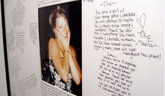 FILE - In this Nov. 18, 2004 file photo, a memorial with a photo of Dru Sjodin and handwritten notes from fellow sorority members hangs in the entry of the Gamma Phi Beta house on the campus of the University of North Dakota in Grand Forks, N.D. Sjodin was abducted from the parking lot of a shopping mall on Nov. 22, 2003. On Thursday, April 7, 2016, a judge approved a new legal team for the death penalty appeal by Alfonso Rodriguez Jr., of Crookston, Minn., who was convicted in Sjodin's killing. (AP Photo/Kory Wallen, File)