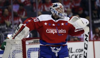 Washington Capitals goalie Braden Holtby (70) pauses before the second period of an NHL hockey game against the Pittsburgh Penguins, Thursday, April 7, 2016, in Washington. (AP Photo/Alex Brandon)
