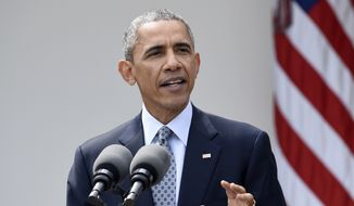 President Barack Obama speaks in the Rose Garden of the White House in Washington, to talk about the breakthrough in the Iranian nuclear talks. (AP Photo/Susan Walsh, File)